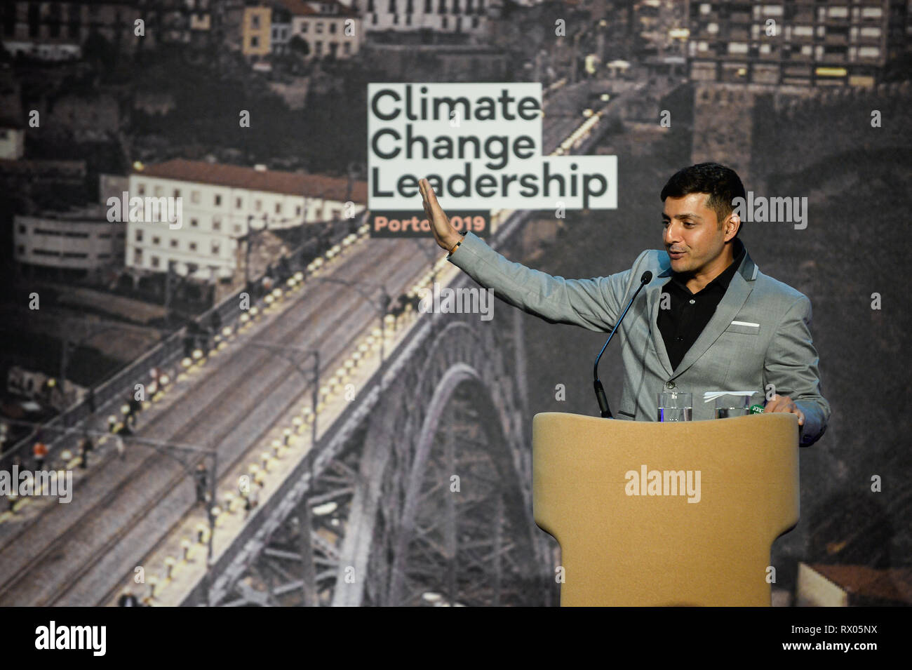 Afroz Shah, Indian Activist seen speaking during the Climate Change Porto Summit at Alfandega Congress Center. - Stock Image