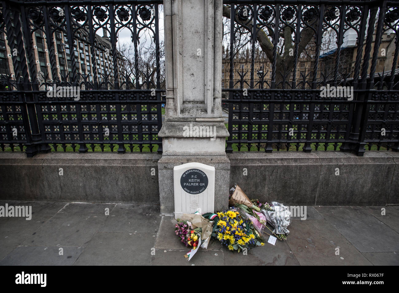 National memorial outside Palace of Westminster in tribute to PC Keith Palmer who was stabbed by Khalid Masood on duty on the forecourt of the Palace. - Stock Image