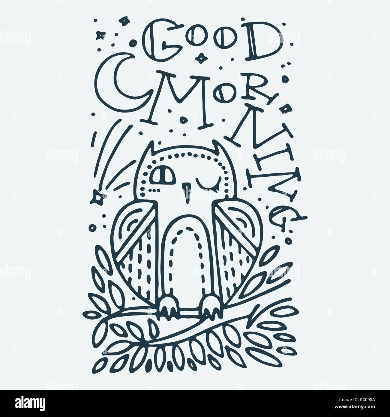 Good Morning Cute Little Animal With Lettering Cartoon Hand Drawn
