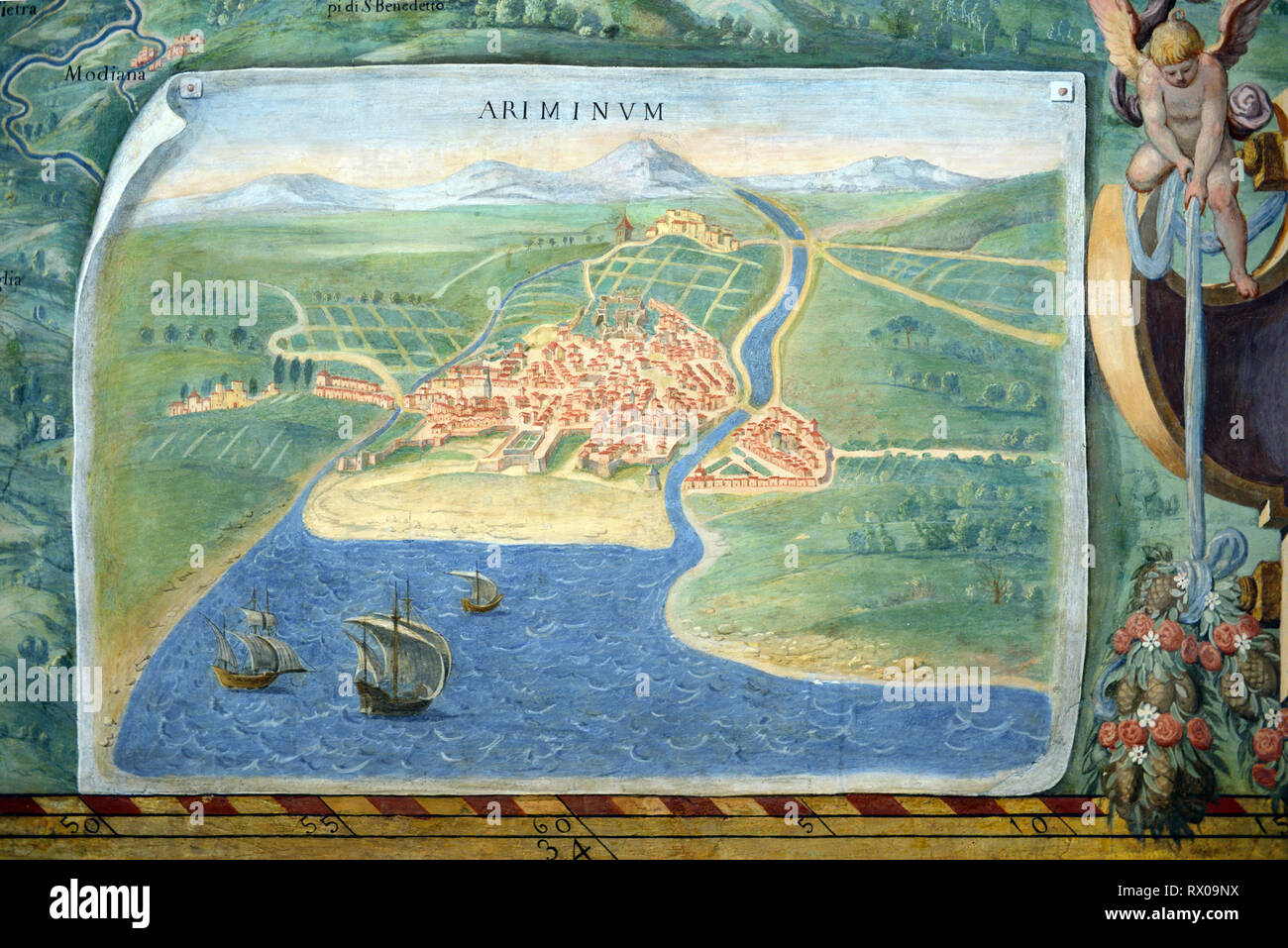 Town Plan or Old Map of Rimini, Italy. Fresco or Wall Painting in Gallery of Maps (1580-83) based on Drawings by Ignazio Danti Vatican Museums - Stock Image