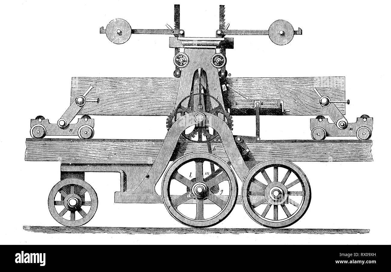 Sägemaschine aus dem Jahr 1885, von der Firma Robinson / a saw machine from the year 1885, produced by Robinson - Stock Image