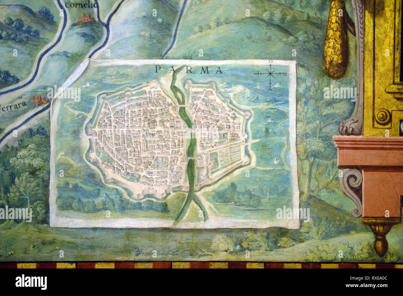 Town Plan or Old Map of Parma, Italy. Fresco or Wall Painting in Gallery of Maps (1580-83) based on Drawings by Ignazio Danti Vatican Museums - Stock Image