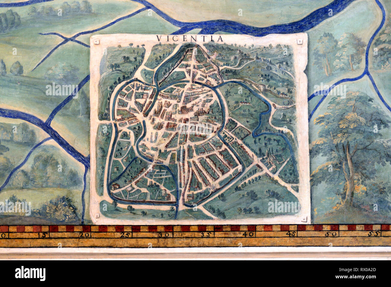 Town Plan or Old Map of Vicenza, Italy. Fresco or Wall Painting in Gallery of Maps (1580-83) based on Drawings by Ignazio Danti Vatican Museums - Stock Image