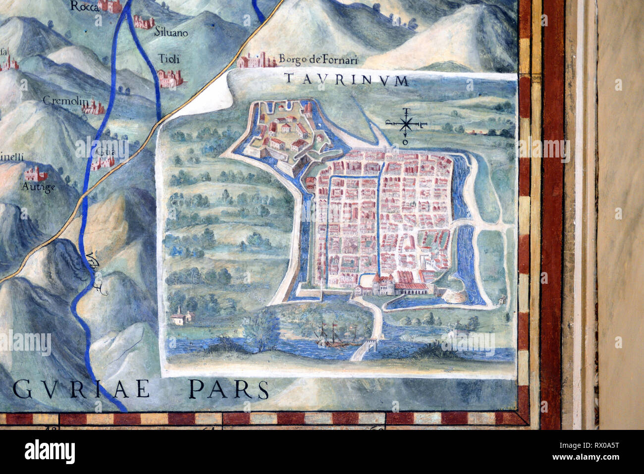 Town Plan or Old Map of Turin, Italy. Fresco or Wall Painting in Gallery of Maps (1580-83) based on Drawings by Ignazio Danti Vatican Museums - Stock Image