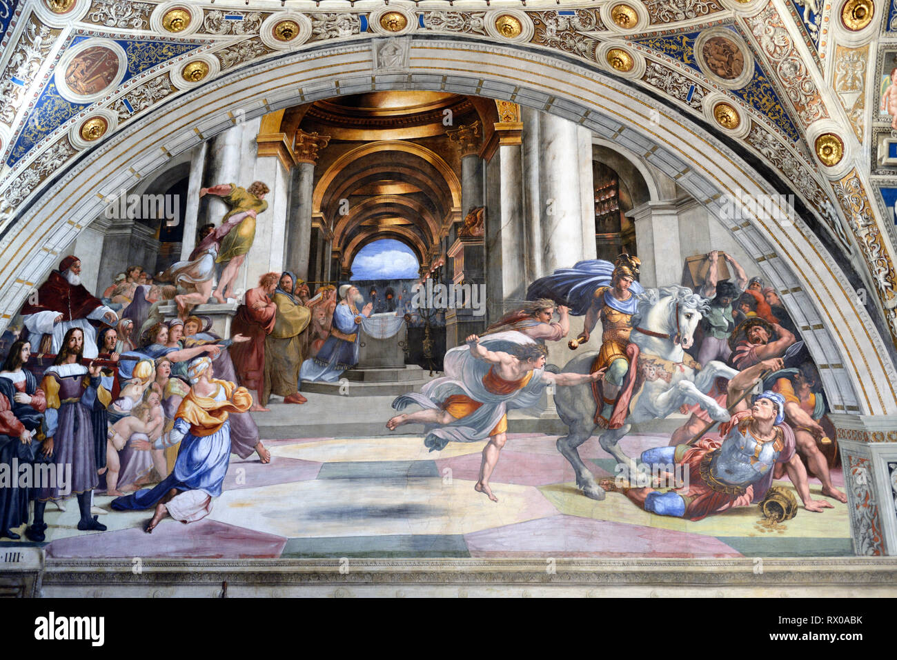 Painting or Fresco, Expulsion of Heliodorus from the Temple (1511-1513), Room of Heliodorus, by Raphael in Apostolic Palace Vatican Museums Vatican - Stock Image