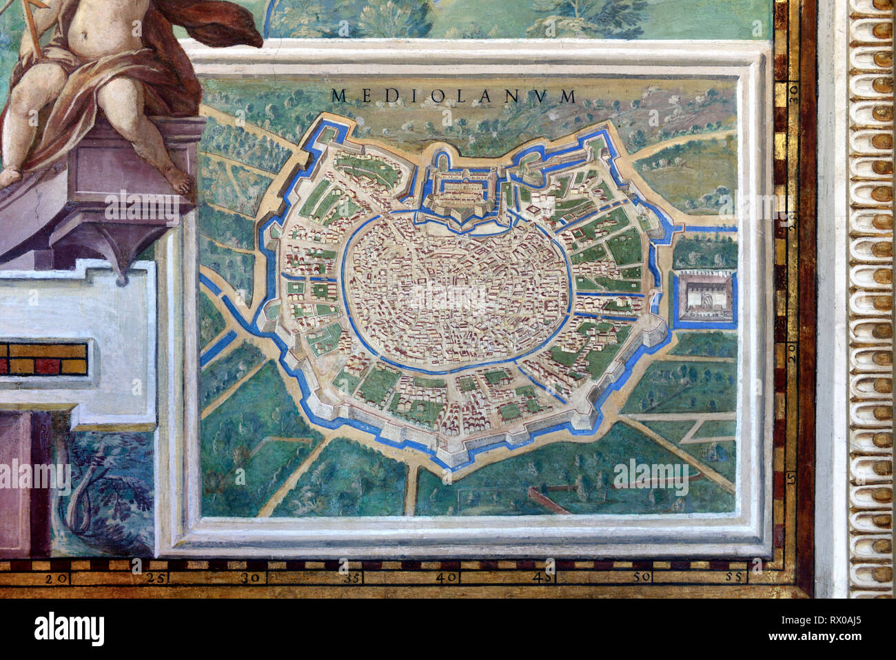 Town Plan or Old Map of Milan, anc Mediolanum. Fresco or Wall Painting in Gallery of Maps (1580-83) based on Drawings by Ignazio Danti Vatican Museums - Stock Image