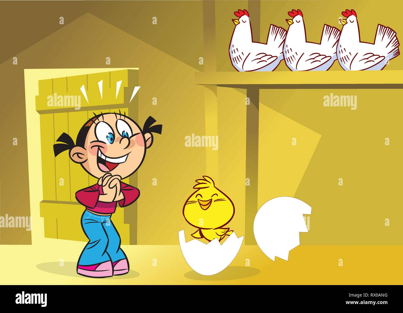 The illustration shows a funny girl in the henhouse. She is smiling, looking at the little chicken. Illustration done in cartoon style, on separate la - Stock Vector