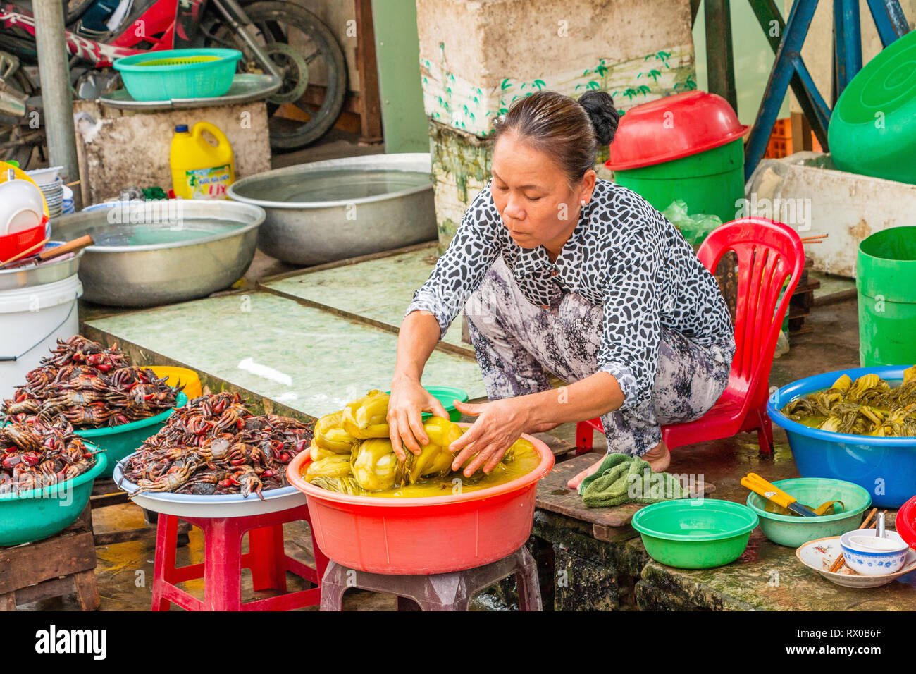 Female Viietnamese stall holder selling fresh food and local delicacies at the  food market, Mekong River, Sa Dec, Cai Be, Vietnam, Asia - Stock Image