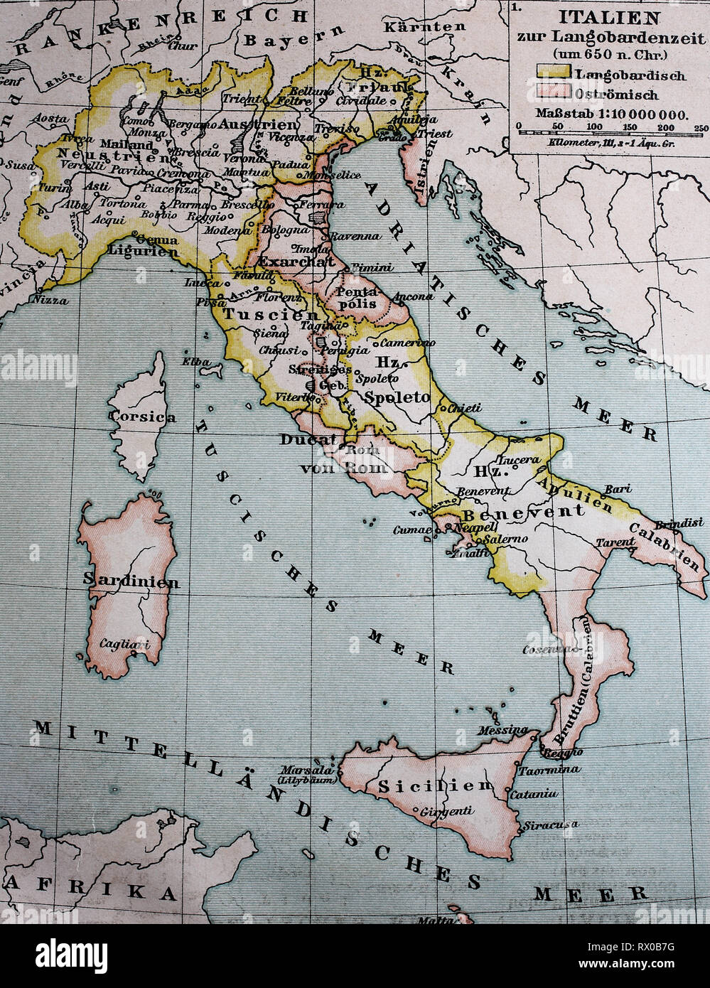 Landkarte von Italien zur Langobardenzeit, ca 650 / Map of Italy at the Longobard period, or Lombards time, about 650 - Stock Image