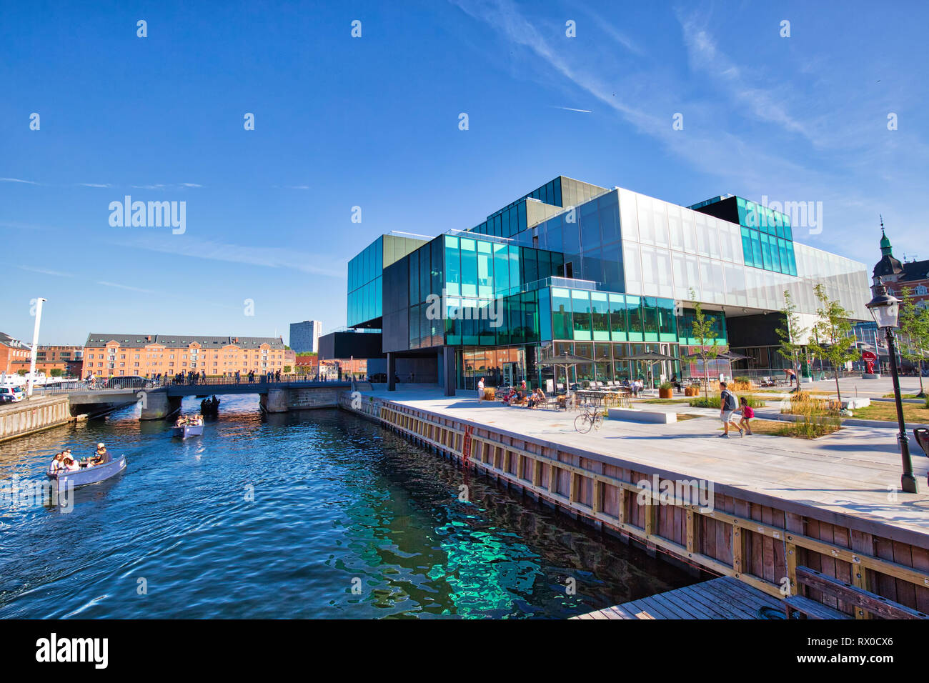 Copenhagen, Denmark-August 1, 2018: The BLOX building, a new prestige building for architecture and design on Christians Brygge in Copenhagen. (Also h - Stock Image