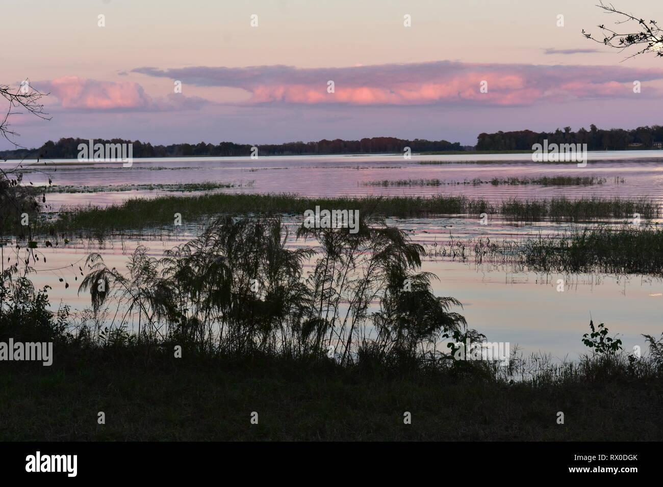 Florida sunset over lake - Stock Image