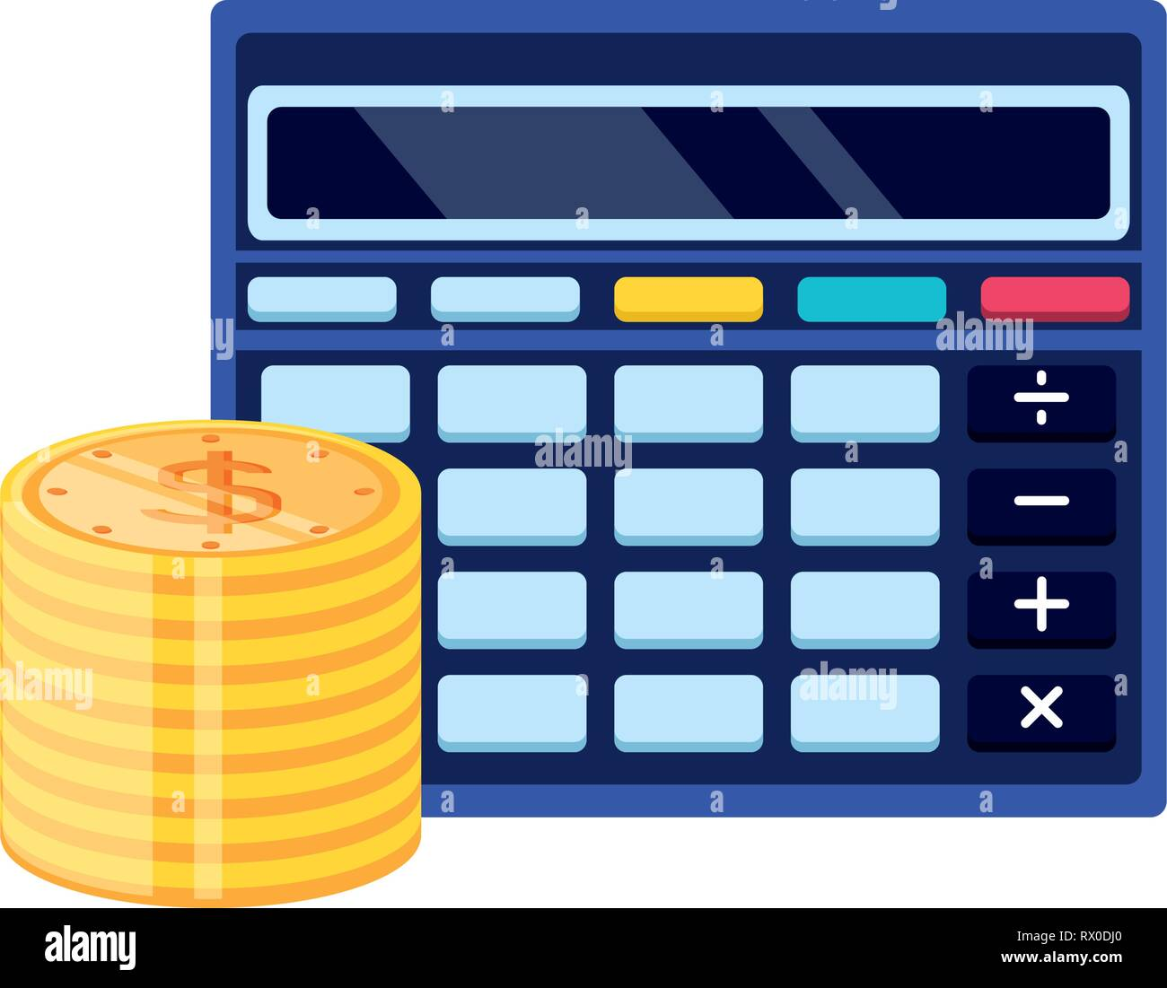 calculator math finance with pile coins vector illustration