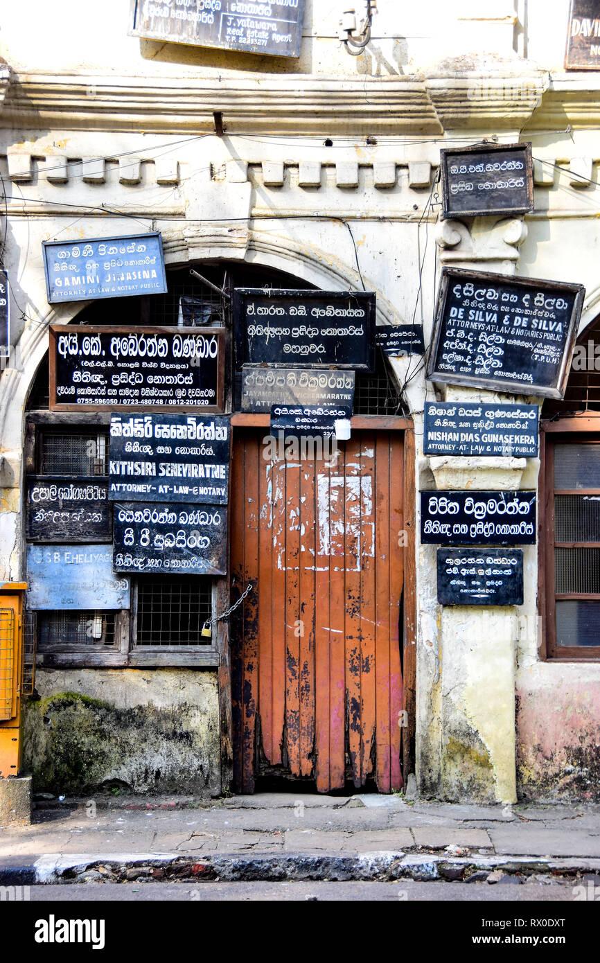 Blackboards of Sri Lankan lawyers, attorneys, notary public, offices, Kandy, Sri Lanka - Stock Image