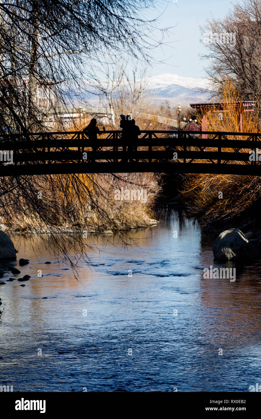 Bridge over the Truckee River in downtown Reno Nevada - Stock Image