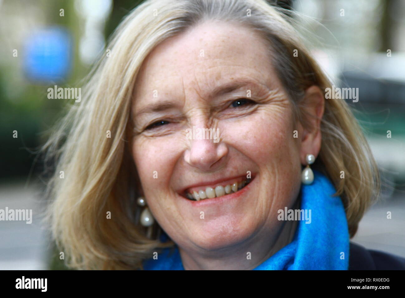 Sarah Wollaston MP for Totnes pictured in Westminster on 7th March 2019. Sarah Wollaston resigned from the Conservative party union to join the Independent Group. Chair of Liaison Committee and Chair of Health Select Committee. DR. SARAH WOLLASTON. British politicians. UK POLITICS. MPS. GENERAL PRACTITIONERS. GPS. GP DOCTORS. DR. SARAH WOLLASTON IS AN EXPRIENCED MEDICAL PRACTITIONER. DOCTORS. NHS. NATIONAL HEALTH SERVICE DOCTORS. NHS MEDICAL STAFF. Change UK. Change UK Political party. - Stock Image