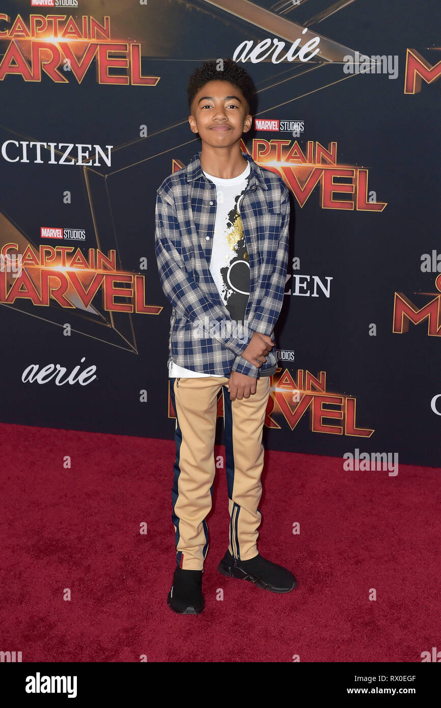 Miles Brown attending the 'Captain Marvel' world premiere at El Captian Theatre on March 4, 2019 in Los Angeles, California. - Stock Image