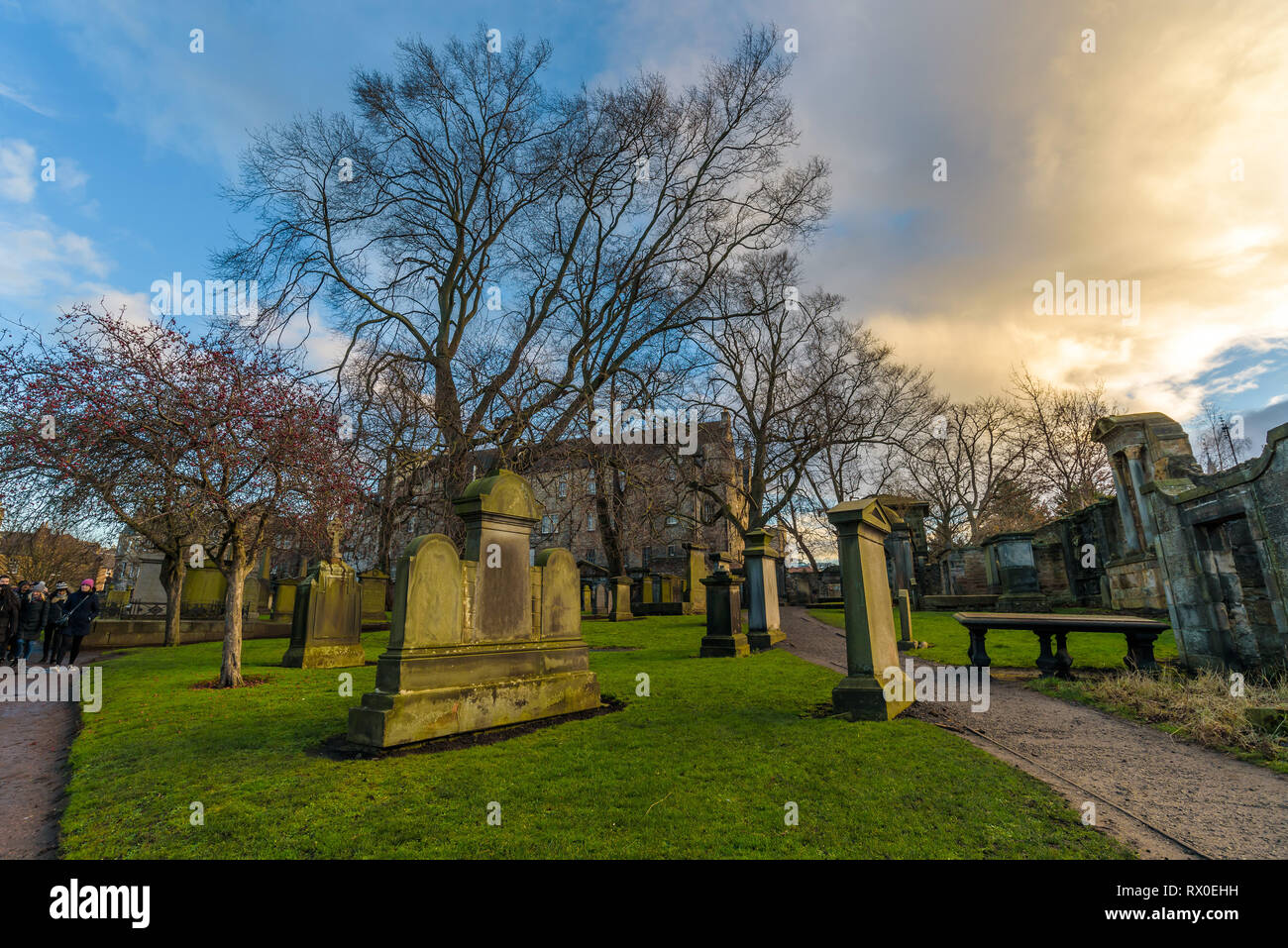 Edinburgh, Scotland - View of Greyfriars Kirkyard, Churchyard with a shop, graves and museum, telling the story of the loyal dog, Greyfriars Bobby. Stock Photo