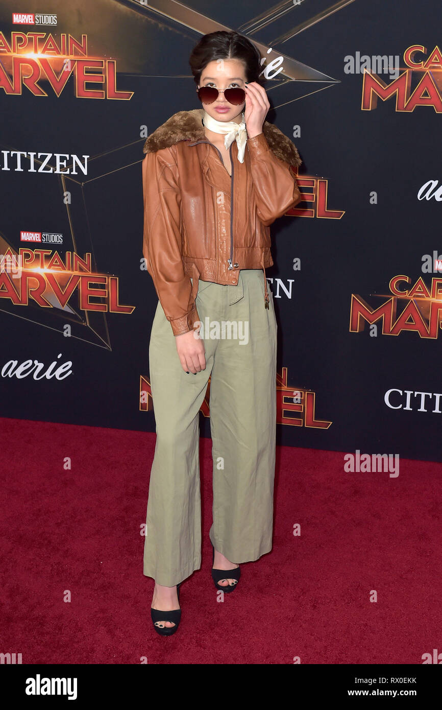 Peyton Elizabeth Lee attending the 'Captain Marvel' world premiere at El Captian Theatre on March 4, 2019 in Los Angeles, California. - Stock Image