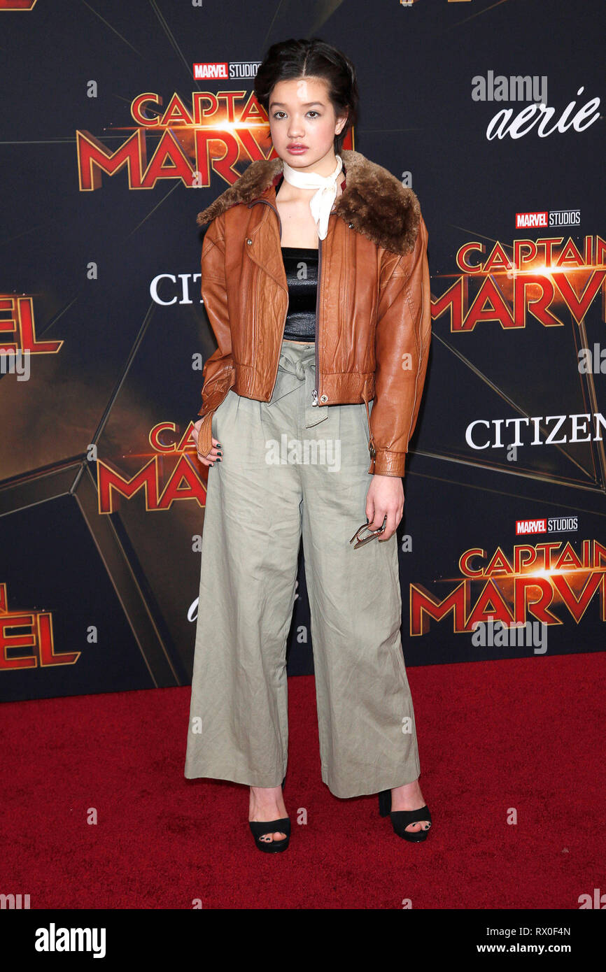 Peyton Elizabeth Lee attending the 'Captain Marvel' world premiere at El Captian Theatre on March 4,2019 in Los Angeles, California. - Stock Image