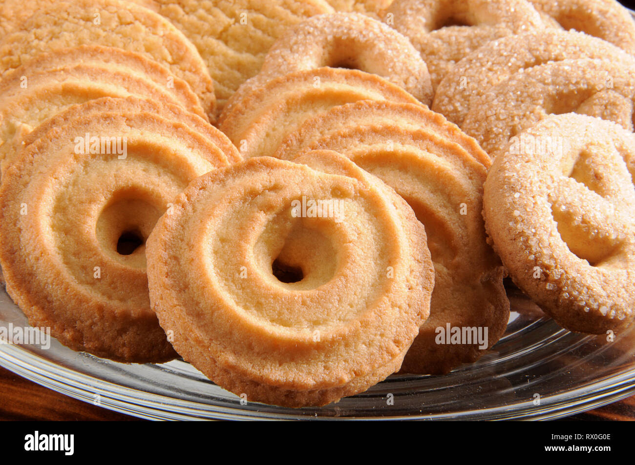 Closeup Of Danish Butter Cookies A Traditional Holiday Treat Stock