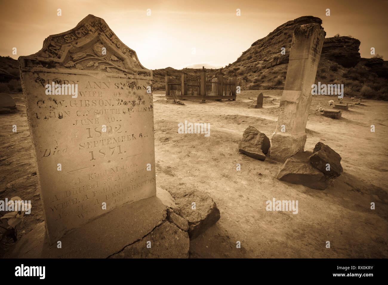 Tombstones in the Grafton Cemetery, Grafton ghost town, Utah USA Stock Photo