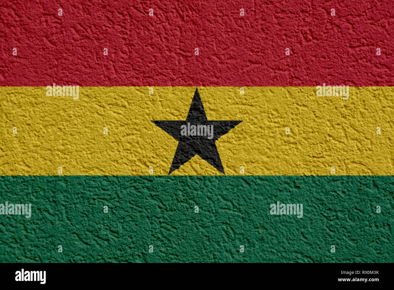 Ghana Politics Or Business Concept: Ghanaian Flag Wall With Plaster, Background Texture - Stock Image