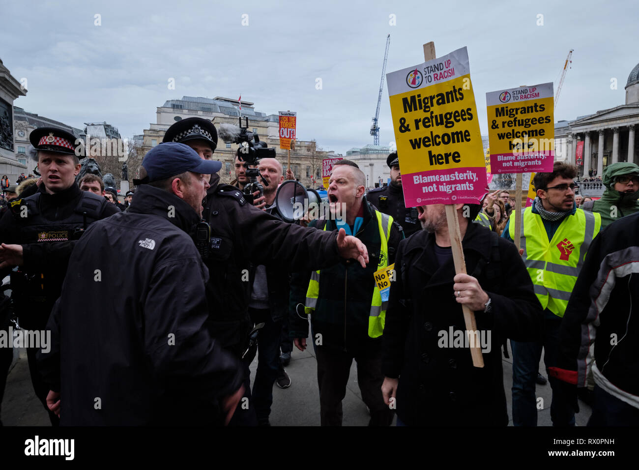London, UK. 12th Jan, 2019, Yellow Vest UK Demonstration at Trafalgar Square. Confrontation Between Pro and Against Brexiteers. - Stock Image