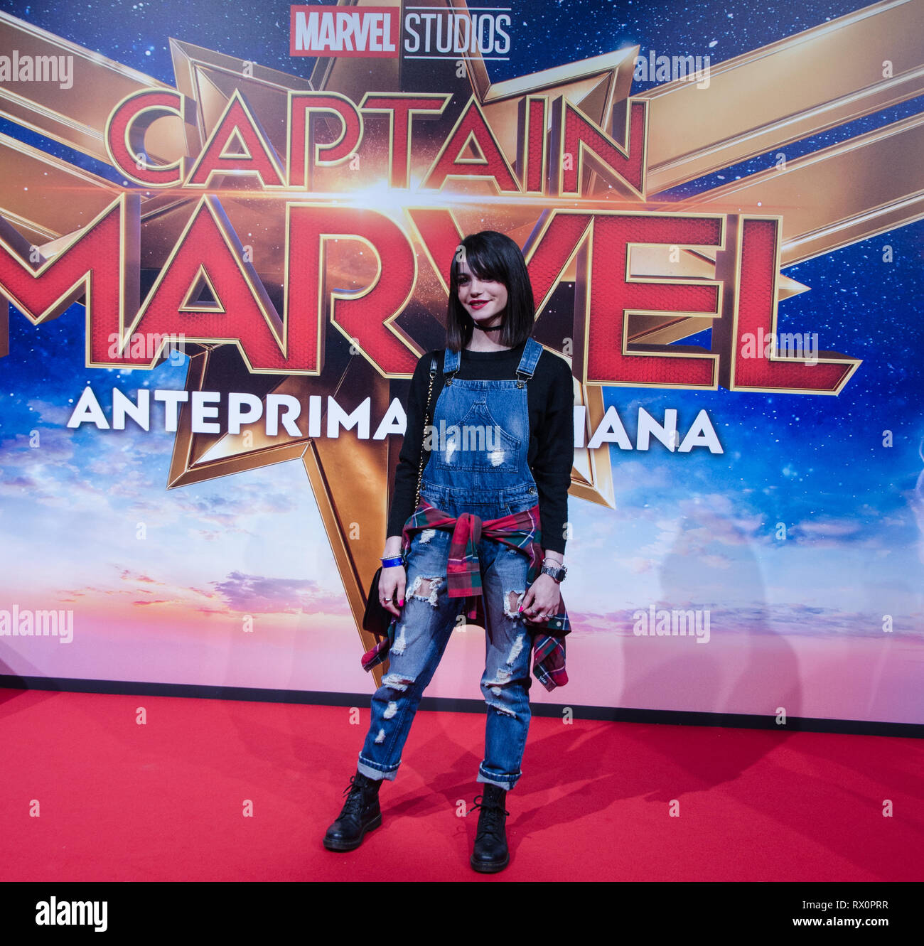 at Captain Marvel premiere red carpet, at Fabrique. Milano, March 5th, 2019 - Stock Image