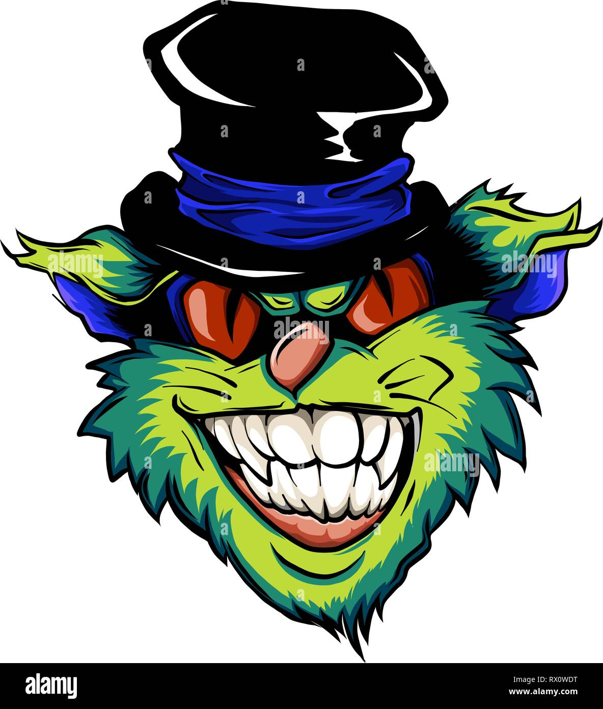 face of an evil cat with a hat - Stock Vector