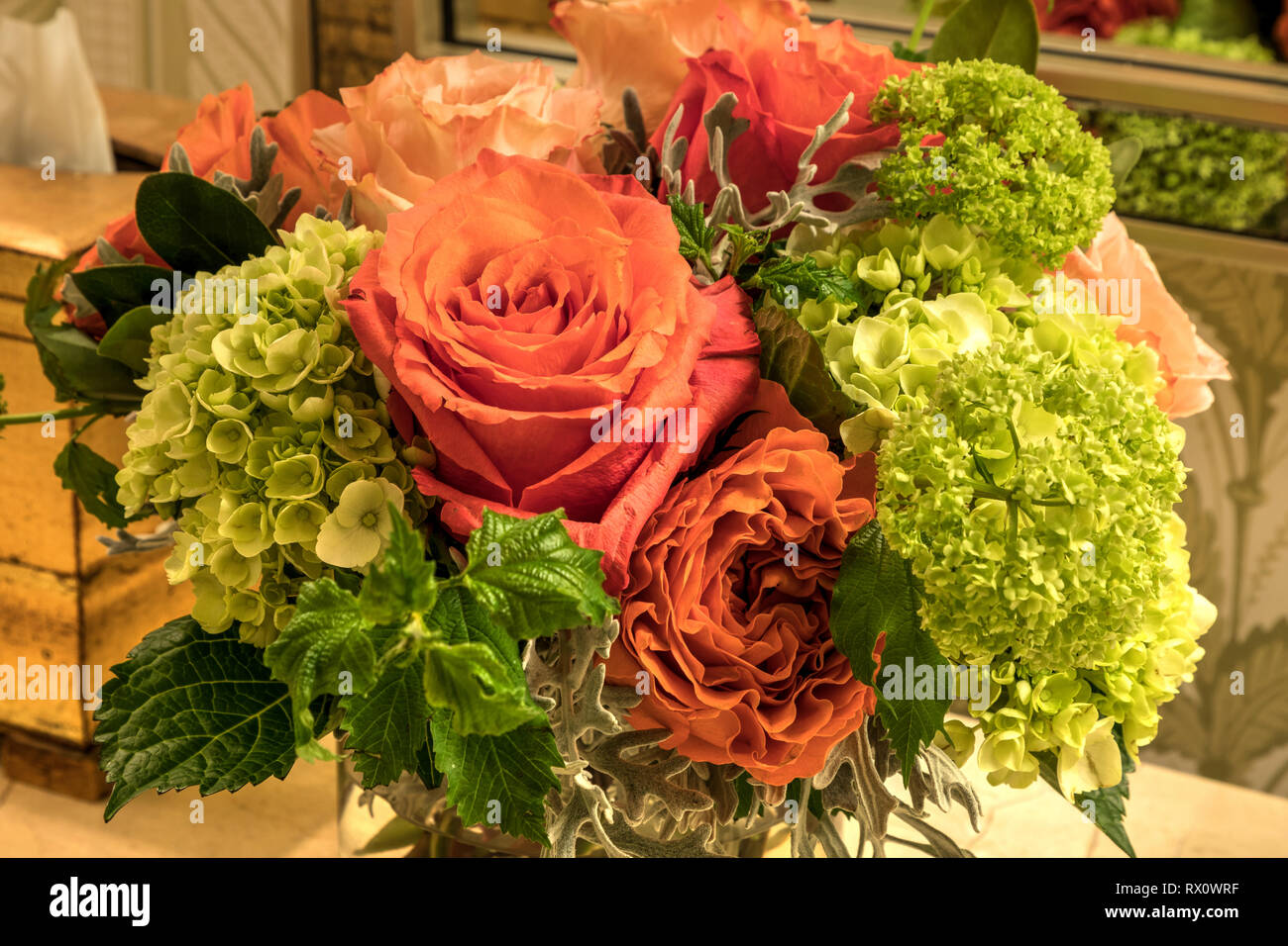 Pale Bouquet Of Pink Orange And White Roses With Green Hydrangea Flowers Stock Photo Alamy