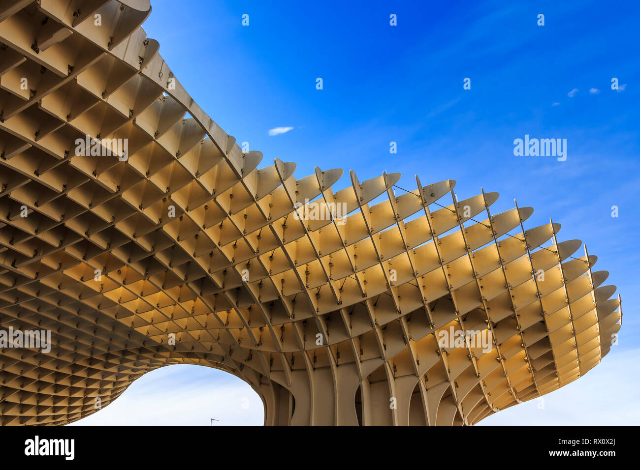 Seville, Spain - Dec 2018: Bottom up view of Mushrooms of Seville , also known as Metropol Parasol. It was designed by the German architect Jurgen May Stock Photo