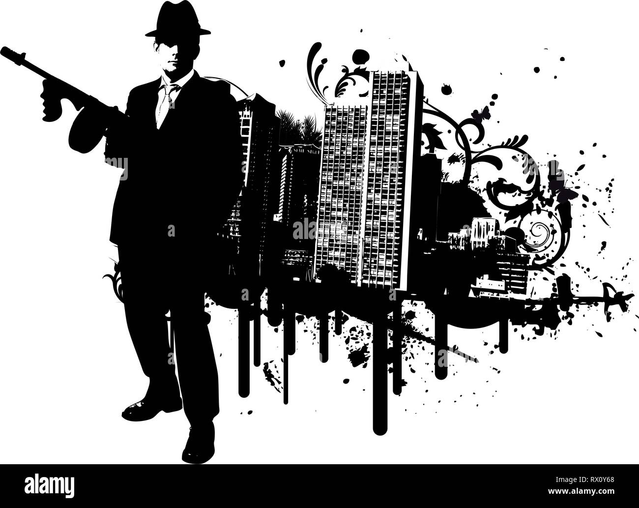 Mafia boss with machine gun stands in front of skyline of a city with design elements in the background Stock Vector