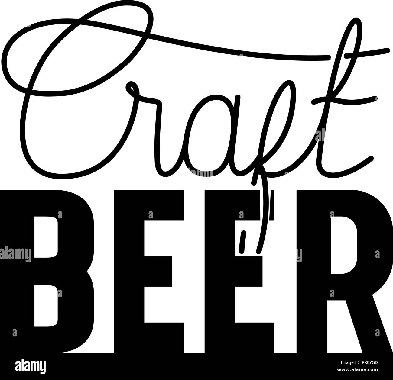 craft beer label isolated icon - Stock Image