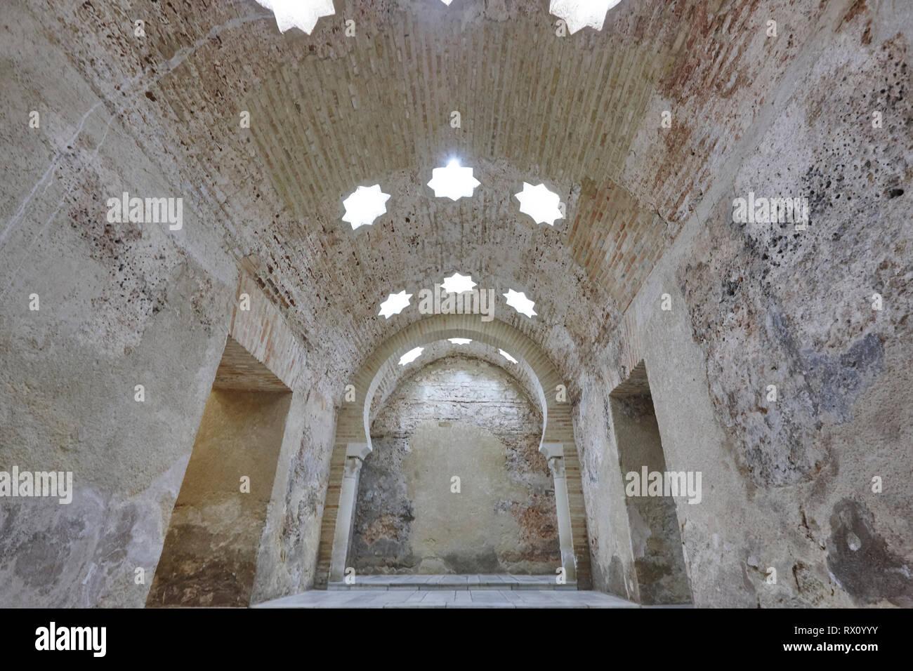 Arabian baths building interior in Jaen, Spain. XI century architecture. - Stock Image