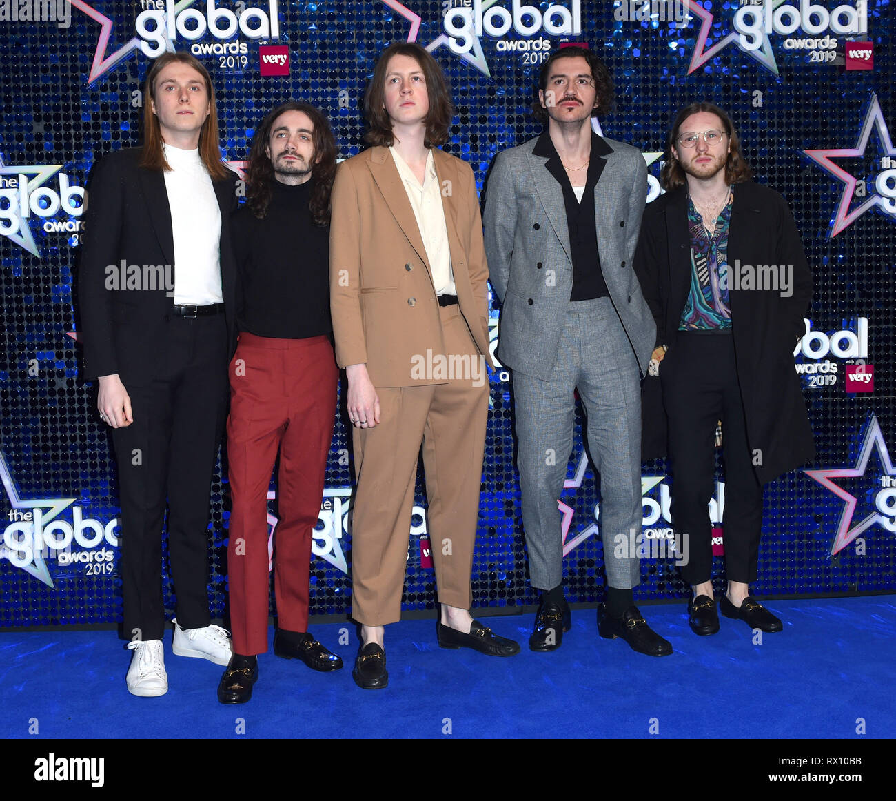 Photo Must Be Credited ©Alpha Press 079965 07/03/2019 Blossoms Tom Ogden, Charlie Salt, Josh Dewhurst, Joe Donovan and Myles Kellock The Global Awards 2019 With Very.co.uk at Eventim Apollo Hammersmith London - Stock Image