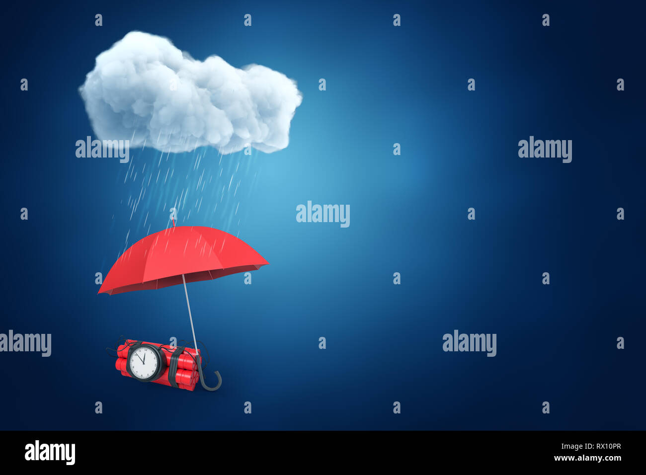 183762998568c 3d rendering of an umbrella protecting the bundle of dynamite with a time  bomb from the