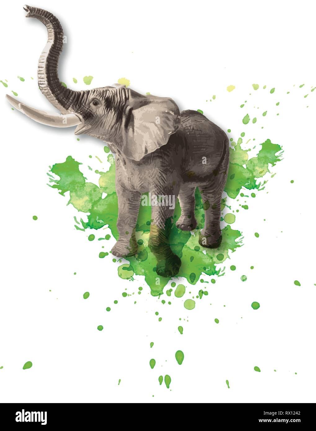 Vector colored illustration of a standing African elephant with watercolor splashes in the background - Stock Vector