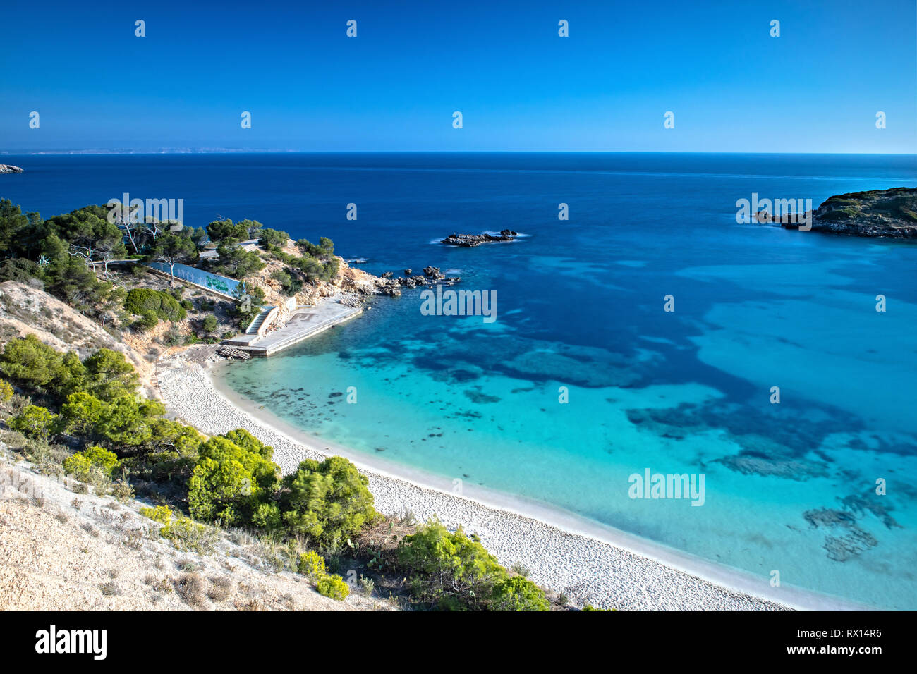 The Bay of Portals Nous in Mallorca, Spain - Stock Image