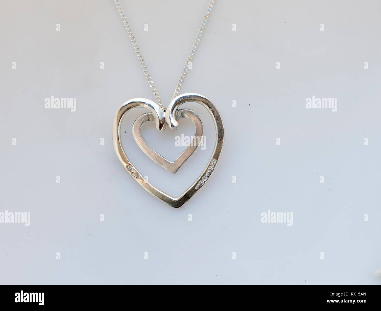 silver, heart, love - Stock Image