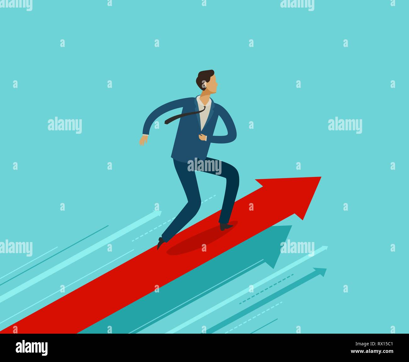 Businessman running on growth graph. Success, achievement, breakthrough concept. Business infographics Stock Vector