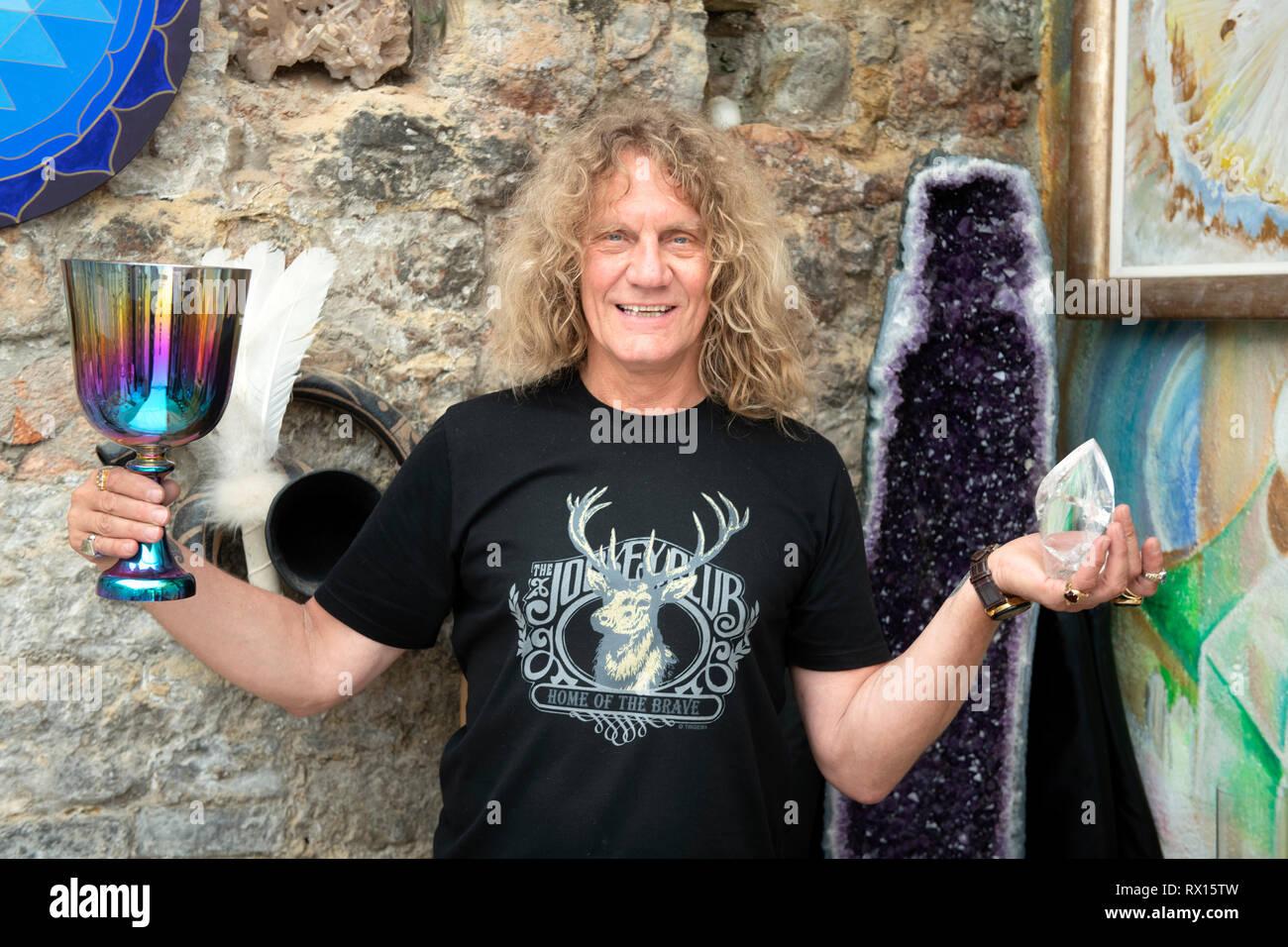The crystal therapist Lui Krieg in Glastonbury, Somerset UK - Stock Image