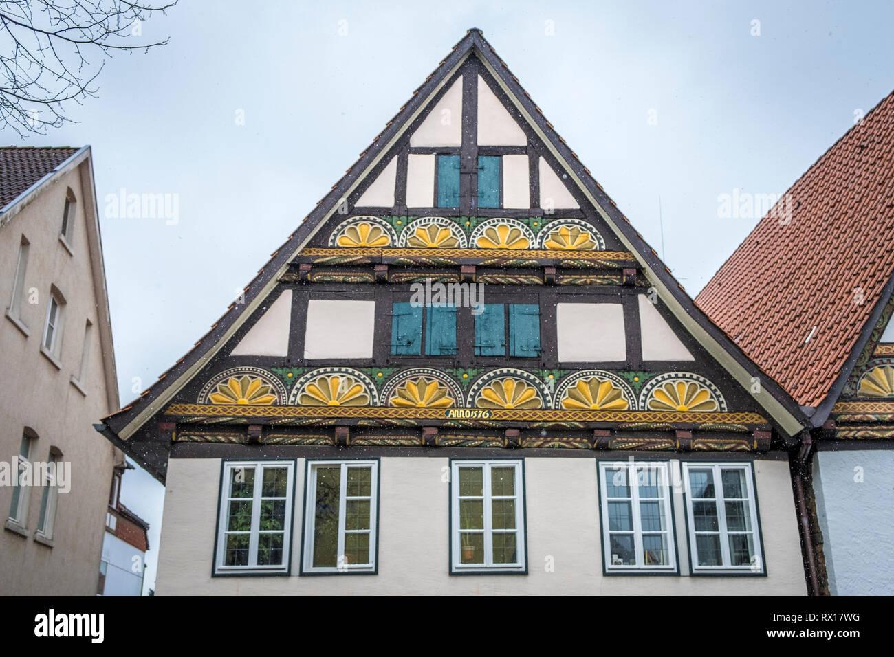 half-timber house in Lemgo, Nord-Rhein-Westfalen, Germany - Stock Image