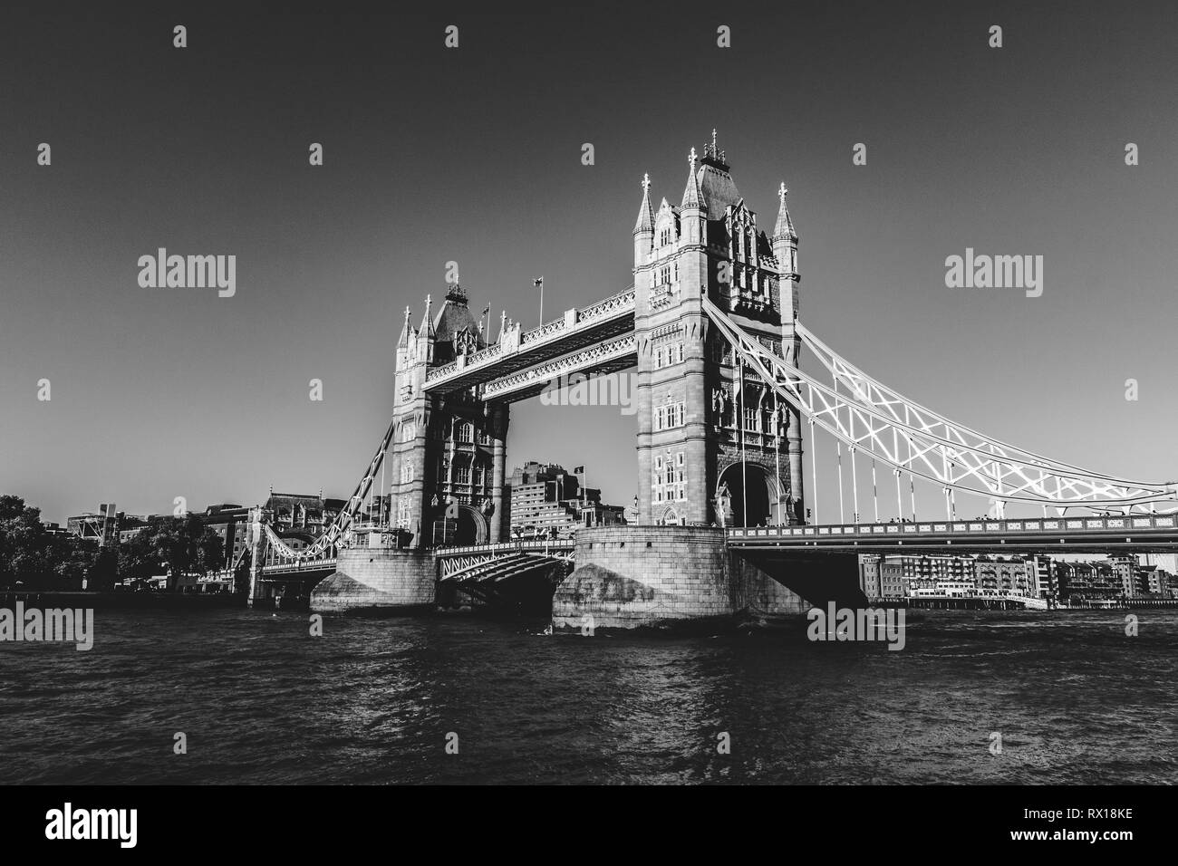 sky with no clouds during a sunny day, double decker bus on the bridge. - Stock Image