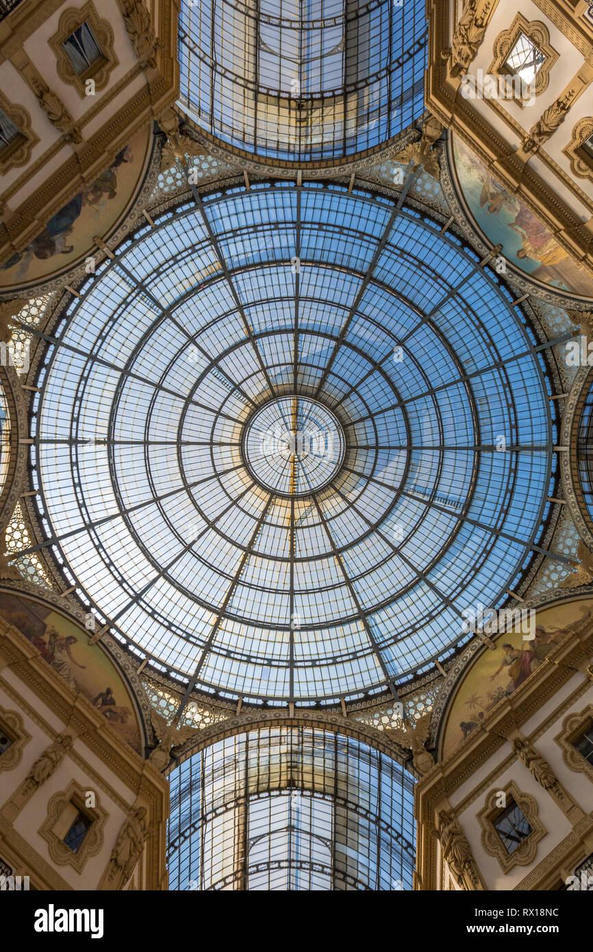 Shopping Mall Galleria Vittoria Emanuele II in Italy - Stock Image
