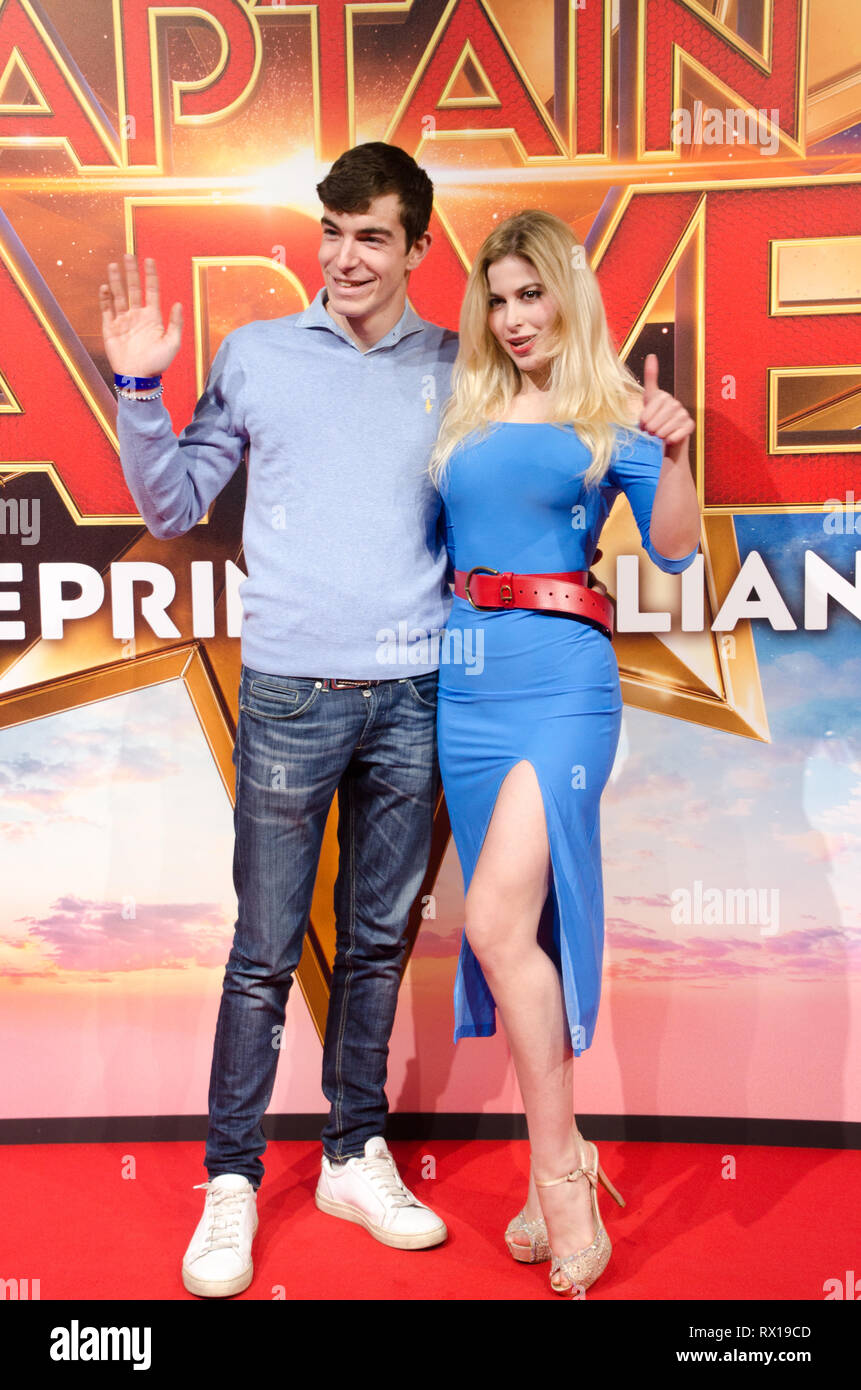 Antoinette Aron and Andrea Pirillo at Captain Marvel premiere red carpet, at Fabrique. Milano, March 5th, 2019 Stock Photo