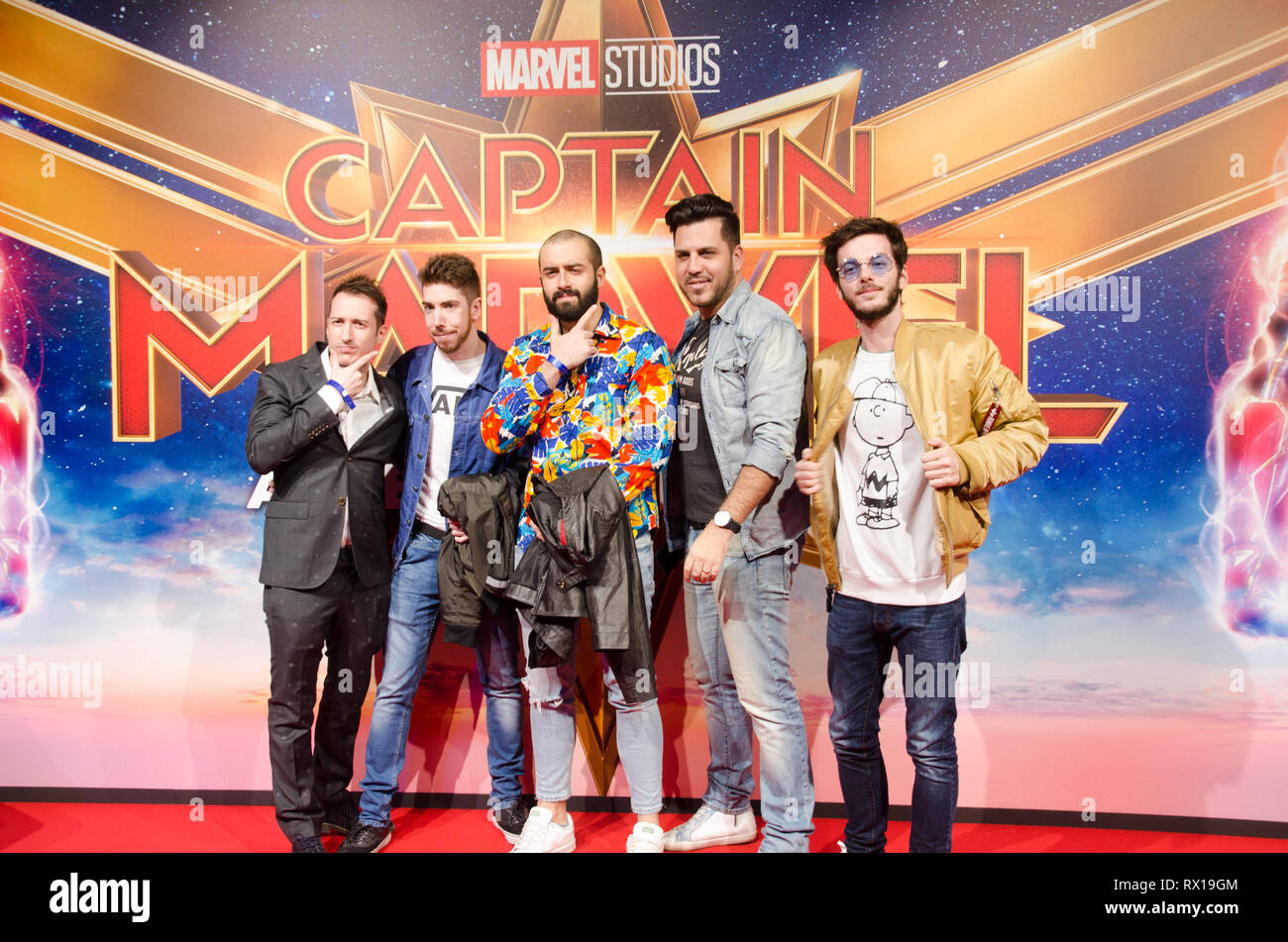 Illuminati crew at Captain Marvel premiere red carpet, at Fabrique. Milano, March 5th, 2019 Stock Photo