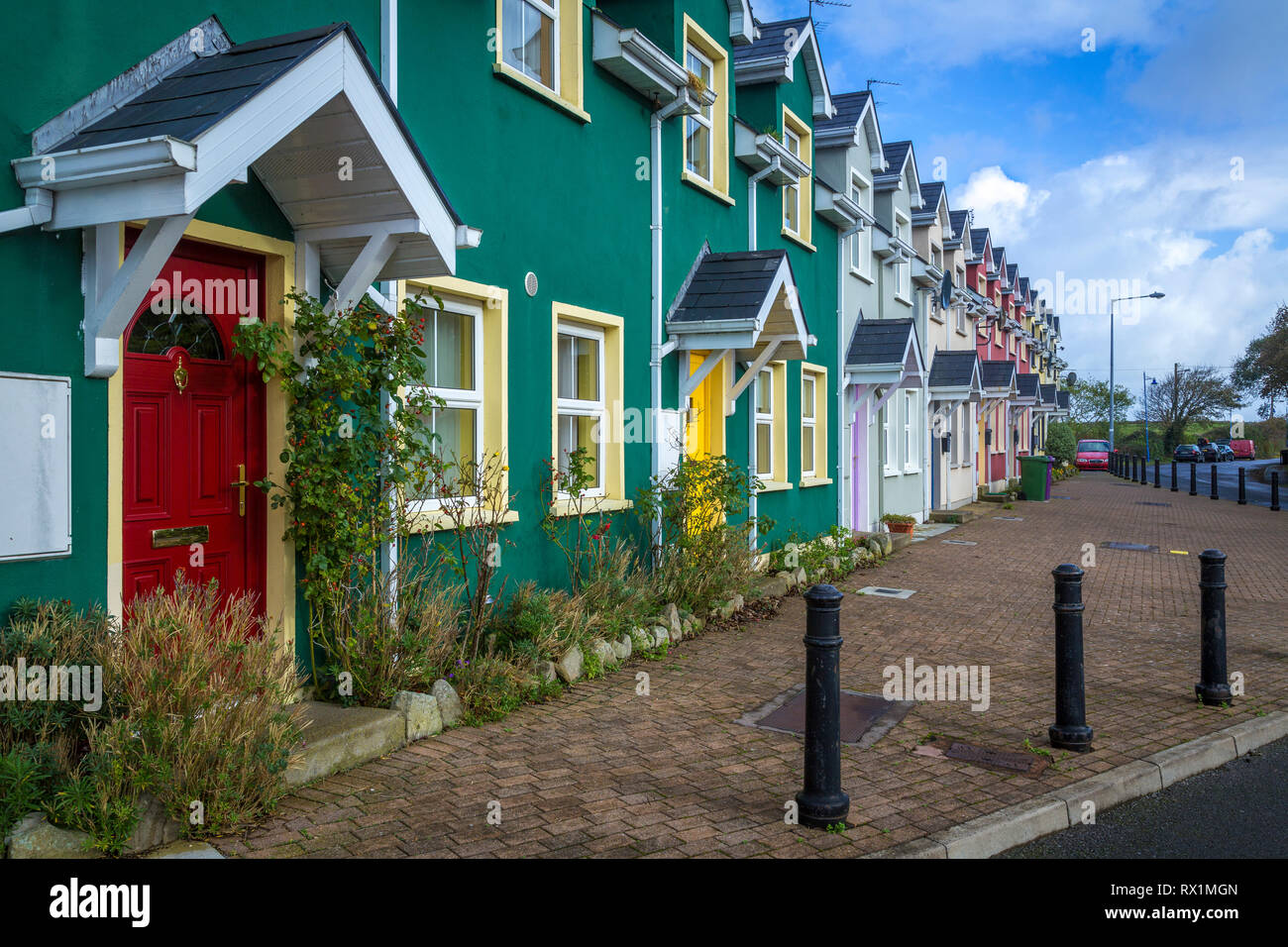 colorful dunguaire cottages, Ireland - Stock Image