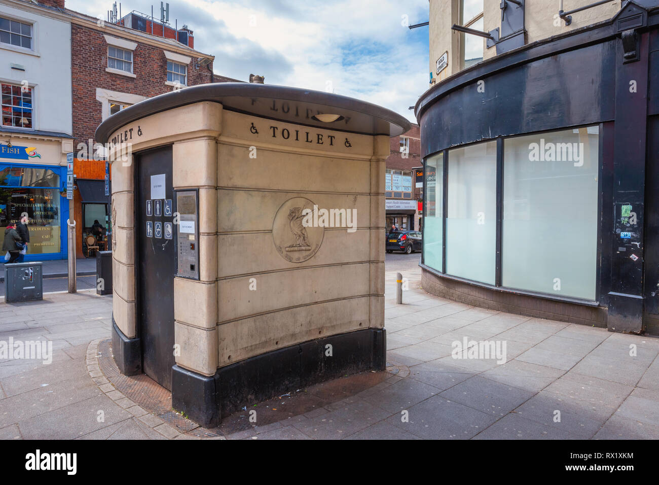 Liverpool, UK - May 16 2018: A public tolet for handicap on Berry Street - Stock Image