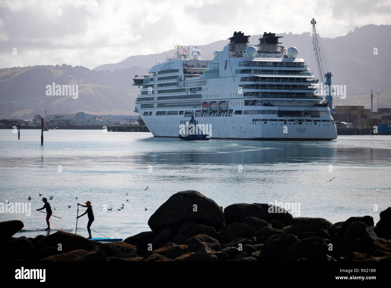 Picture by Tim Cuff - 25 January 2019 - Arrival of cruise ship Seabourn Encore into Port Nelson, New Zealand - Stock Image