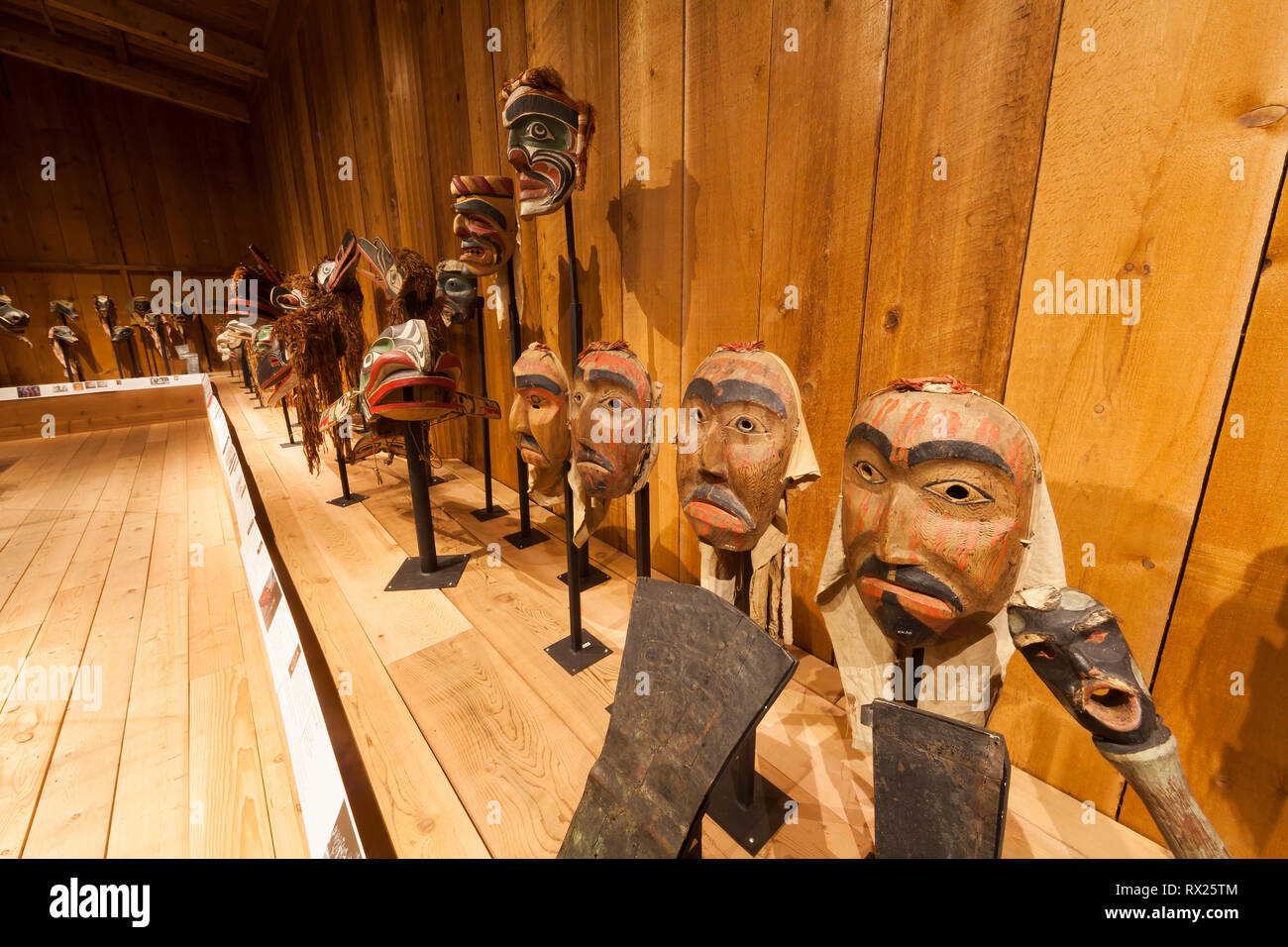 First Nations culture comes alive at the U'mista Cultural Centre where displays of priceless Kwakwaka'wakw masks and cultural icons are on display.  A - Stock Image